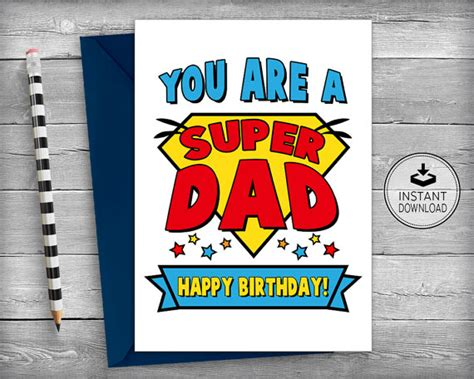 printable birthday cards to dad dad superhero birthday card dad birthday cards father