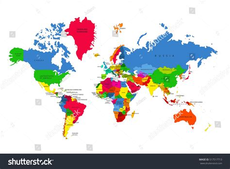 colorful world map political map world colorful world mapcountries stock