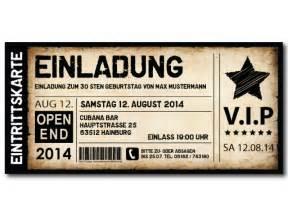 Eintrittskarten Design Vorlage Einladungskarten Als Ticket Geburtstag Vintage Exklusivedrucksachen