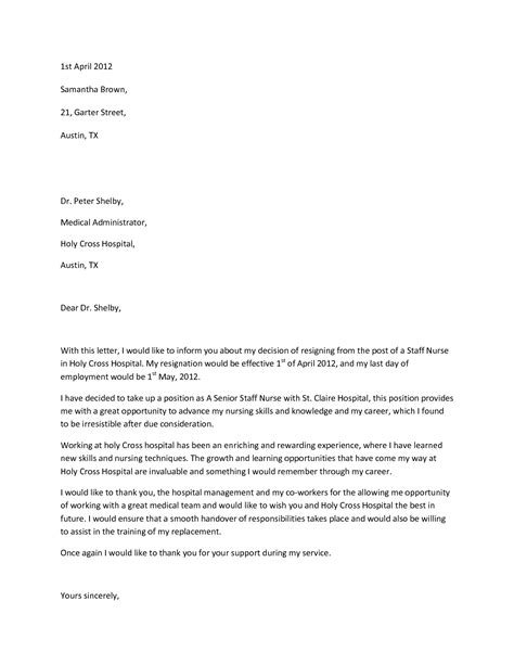 Resignation Letter For New Nurses Resignation Letter Format Letter Of Resignation Professionals Given Tips And Trick