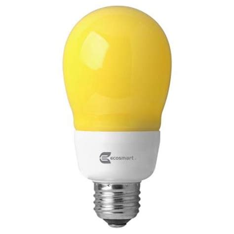 Outdoor Cfl Light Bulbs Ecosmart 60w Equivalent A19 Outdoor Cfl Bug Light Bulb Es5a814y The Home Depot