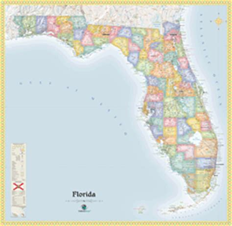 political map florida florida political wall map by outlook maps