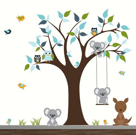 Woodland Wall Mural b 233 b 233 cr 232 che mur stickers enfants chambre wall decor arbre avec