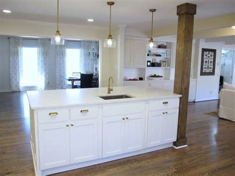 kitchen islands with columns 8x4 kitchen island with bar sink stained wood column