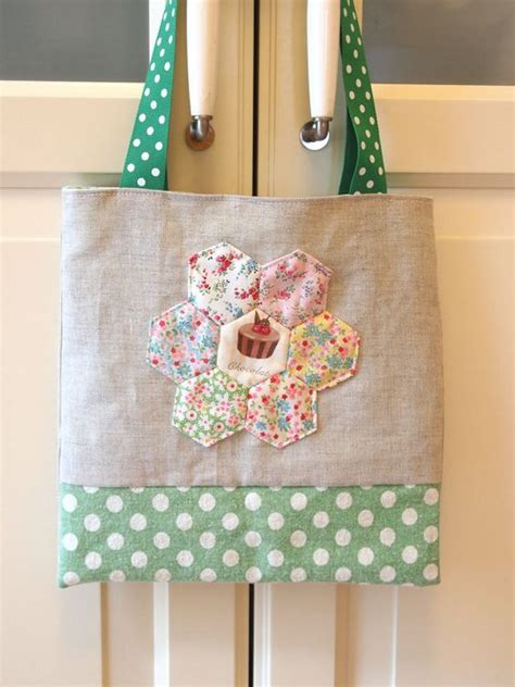 Patchwork Hexagons - floral hexagon patchwork small tote bag sew sew n sew