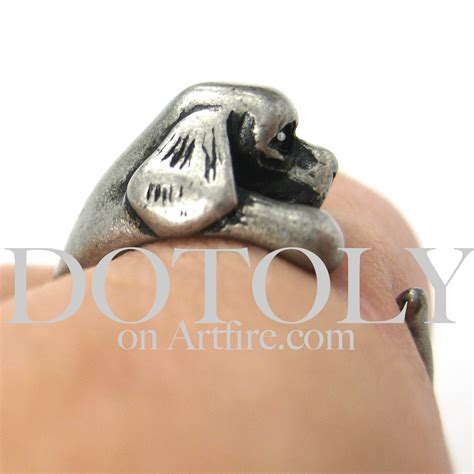 puppy ring miniature cocker spaniel puppy animal wrap ring silver sizes 5 9 183 dotoly