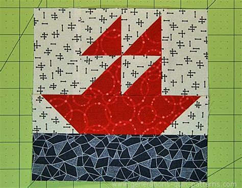 Boat Quilt Block Pattern by Sailboat Quilt Block Pattern 4 Quot 6 Quot 8 Quot And 12 Quot Sizes
