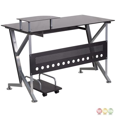 Black Glass Computer Desk With Pull Out Keyboard Tray And Glass Computer Desk With Keyboard Tray