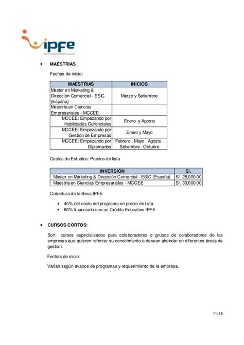 Costo Mba En Canada by Ipfe Informaci 243 Nglobalbecas 2012