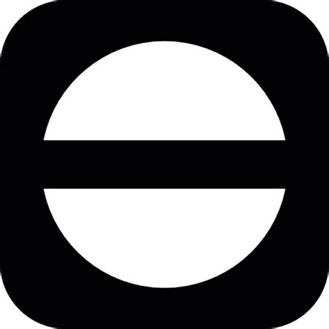 Middle Line Black circle with horizontal middle line inside a rounded square