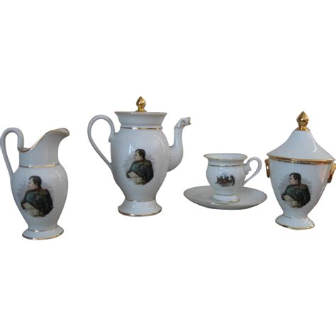 Tea Set Napoleon 7 Picese vintage limoges lucien michelaud tea set with portrait of