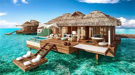 water bungalows  coming   caribbean