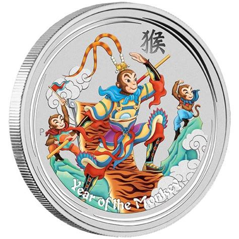 new year 2016 monkey king monkey king 2016 1oz silver coloured coin the perth mint