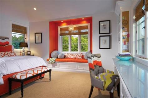 orange white room matching colors with walls and furniture