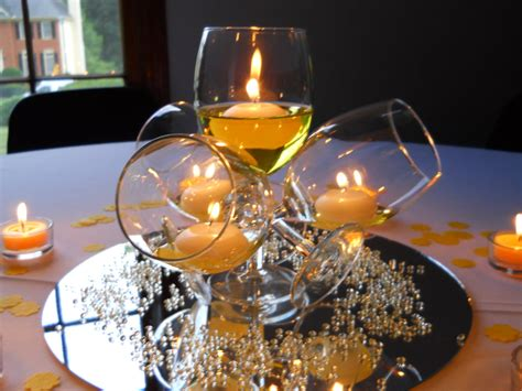 large wine glass centerpiece 50 and fabulous decor poppers 50th and centerpieces