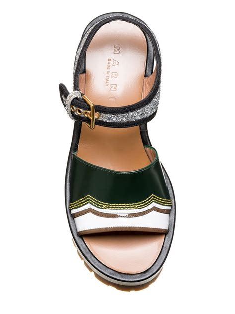 Wedges Ban 4 one band wedge in shiny calfskin from the marni