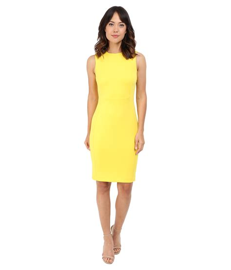 Ck Calvin Klein Sleevlees Dress calvin klein sleeveless sheath dress cd6m1a00 canary
