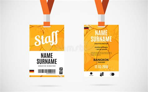 event name tag template staff id card set vector design illustration stock vector
