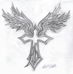 cross with flowers tattoos barbed wings tattoo the angel