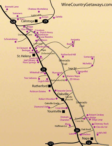 napa valley set of 2 napa winery road map there are two roads that run along the napa valley beginning in the town of