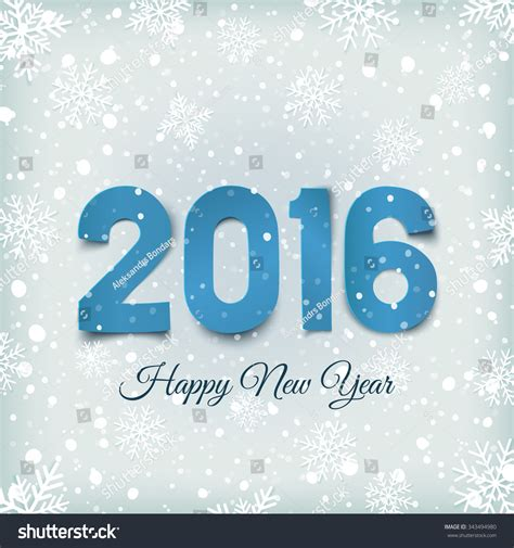 New Year Card Template 2016 by Happy New Year 2016 Blue Paper Type On Winter Background