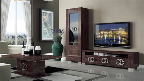 modern wall entertainment units home staging accessories walnut brown tv stand with side vitrine shelves hialeah