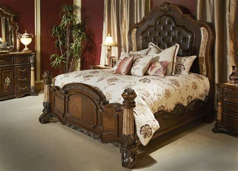 michael amini victoria palace bedroom set  panel bed  light espresso  aico