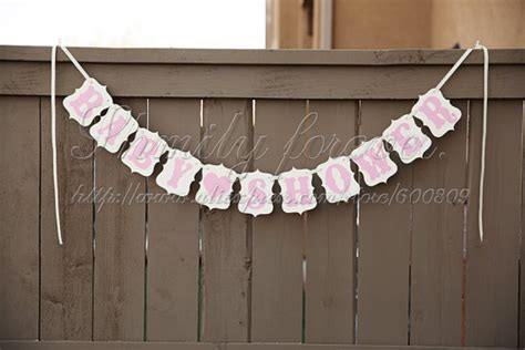 Handmade Baby Shower Banners - free shipping personalised baby pink color handmade baby