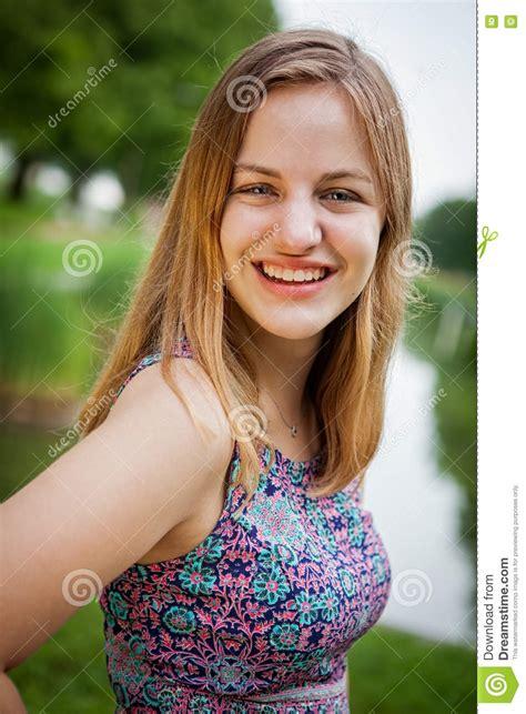 beautiful teen girl high school senior portrait stock