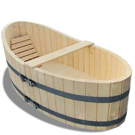 barrel bathtub wooden bathtub 178x87cm bath tub including drain tap