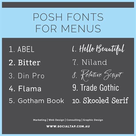 cafe design font what menu fonts to use for your restaurant social tap