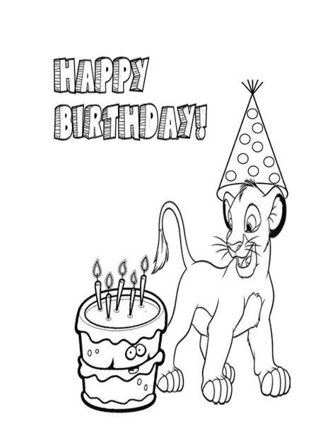 Birthday Lion Coloring Page | lion king and birthday hat coloring page h m coloring