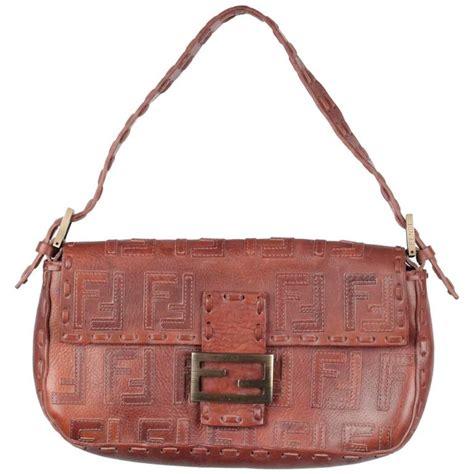 Fendi Brown Tweed Handbag by Fendi Brown Leather Baguette Bag Shoulder Bag Handbag W