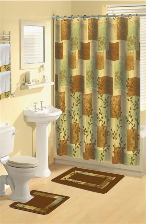 matching shower curtain and towels green brown leaf 15 piece bathroom set bath rugs shower