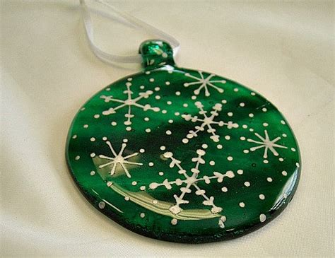 green round fused glass christmas ornament