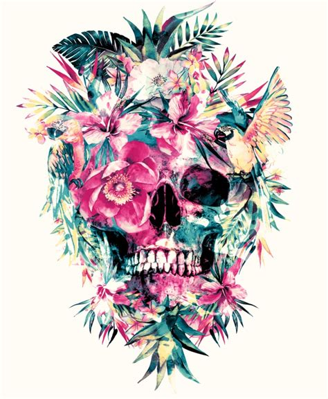 colorful skull tattoo designs colorful floral skull illustrations by riza peker designwrld