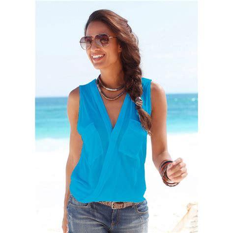 Blouse V Style Baju For Wanita baju pantai wanita sleeveless v neck shirt size m blue jakartanotebook