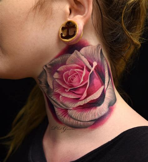 rose tattoos on the neck 50 magnificent tattoos tattoomagz
