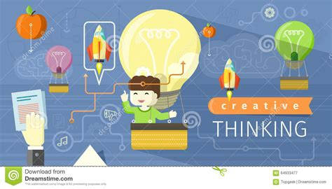 design thinking technology creative thinking design flat concept stock vector image