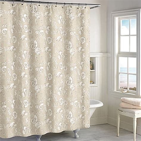 Seashell Shower Curtain Bathroom Set Destinations Seashell Toile Shower Curtain In Sand Bed Bath Beyond