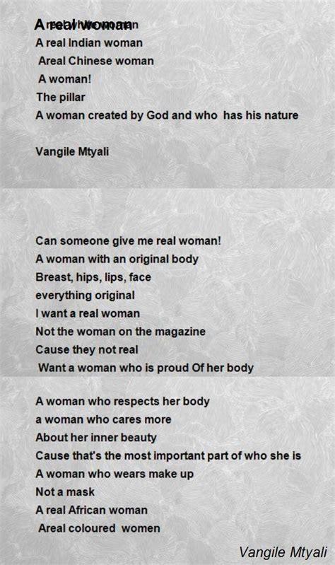 a real woman poem by vangile mtyali poem hunter