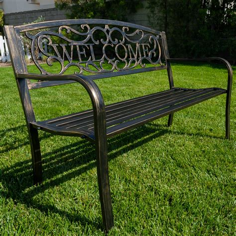 patio bench seat new 50 quot inch outdoor garden bench patio furniture welcome