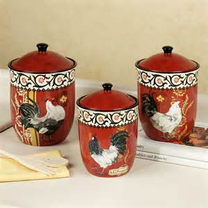 rooster kitchen canister set multi warm three world imports piece lid glass wayfair