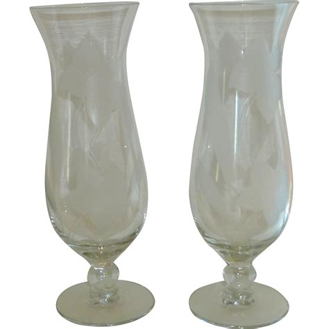 Daffodil Vase by Clear Etched Daffodil Jonquil Flower Vase Set From