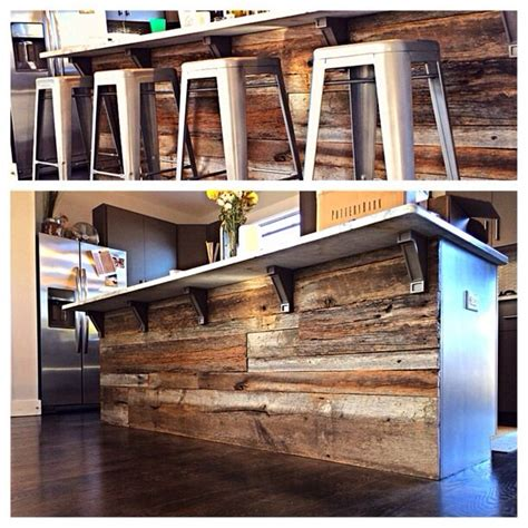 Distressed Blue Kitchen Cabinets Refinished Bar With Reclaimed Wood Kitchen Island Ideas