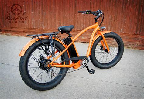 E Bike Cruiser by E Lux Fat Tire Electric Cruiser Bike Rat Rod Bikes