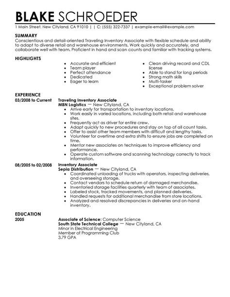 Inventory Associate Sle Resume by Best Traveling Inventory Associate Resume Exle Livecareer