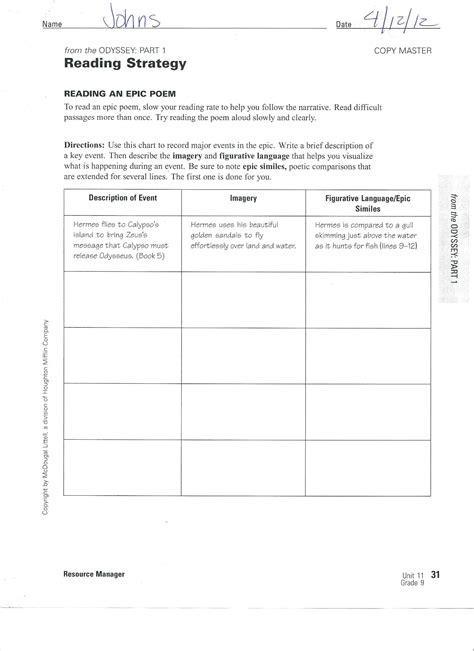 The Odyssey Worksheet Answers by 1 Hhsresourceprogram