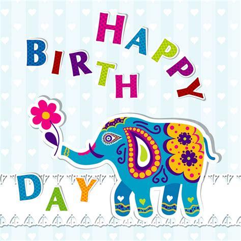 indian design happy birthday フリーイラスト素材 イラスト 象 ゾウ 哺乳類 動物 生き物 誕生日 バースデー ハッピー