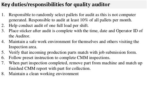 Auditors Duties And Responsibilities by Quality Auditor Description
